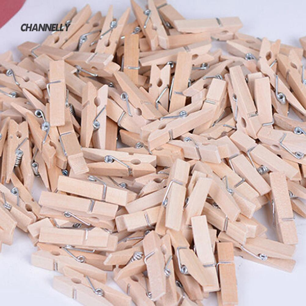 EG/_ 50 Pcs Mini Wooden Cloth Photo Paper Peg UI Craft Clips Memo Clip Little