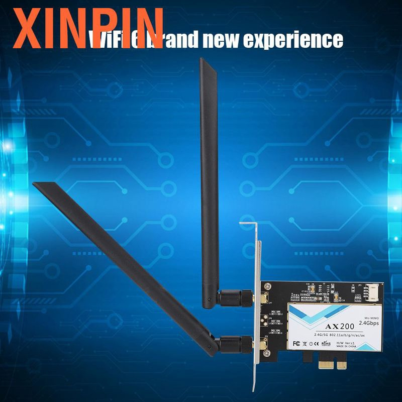 Dual-Frequency Network Adapter for Intel AX200NGW 802.11ax WiFi6 2400M PCI-E Desktop Dual Band Wireless Adapter with Bluetooth5.0 Wireless WLAN Card