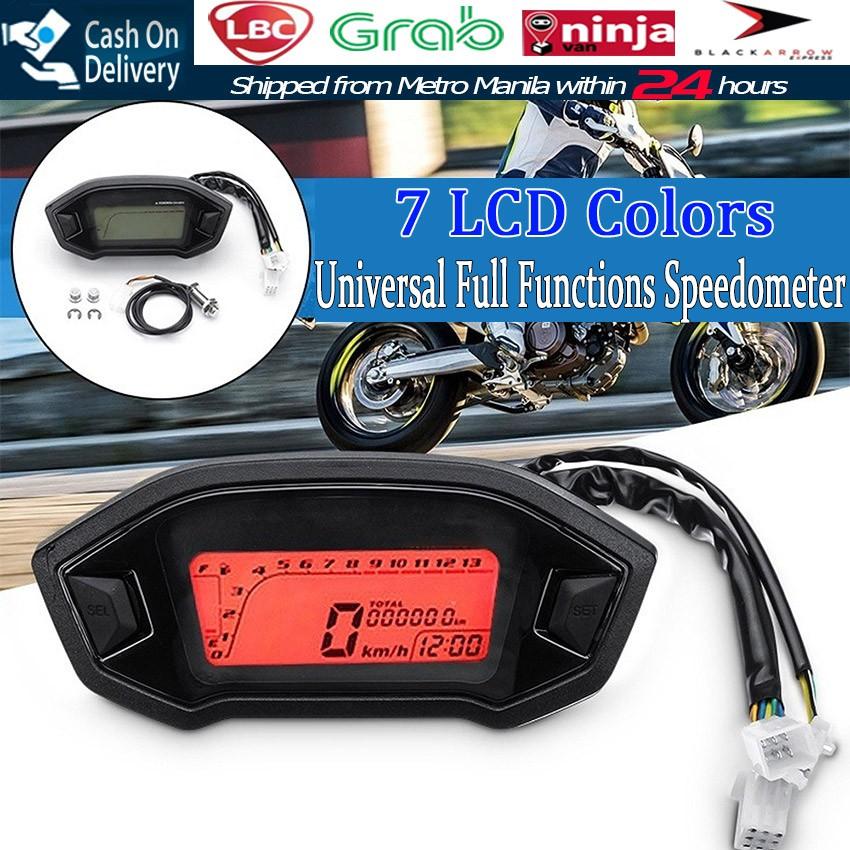 12v Universal Motorcycle Lcd Digital Speedometer Odometer