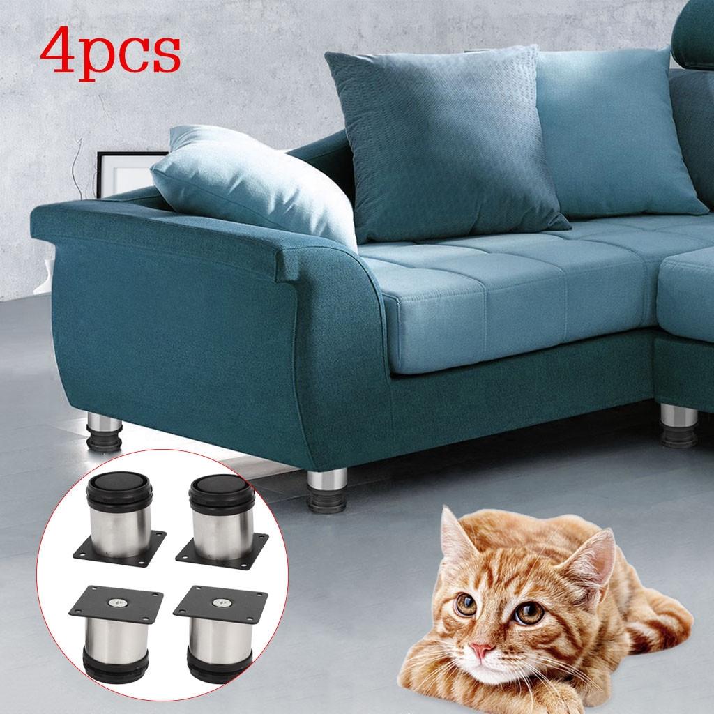 4 Pcs Adjustable Cabinet Legs Round Stands Sofa Holder Kitchen Plinth Feet