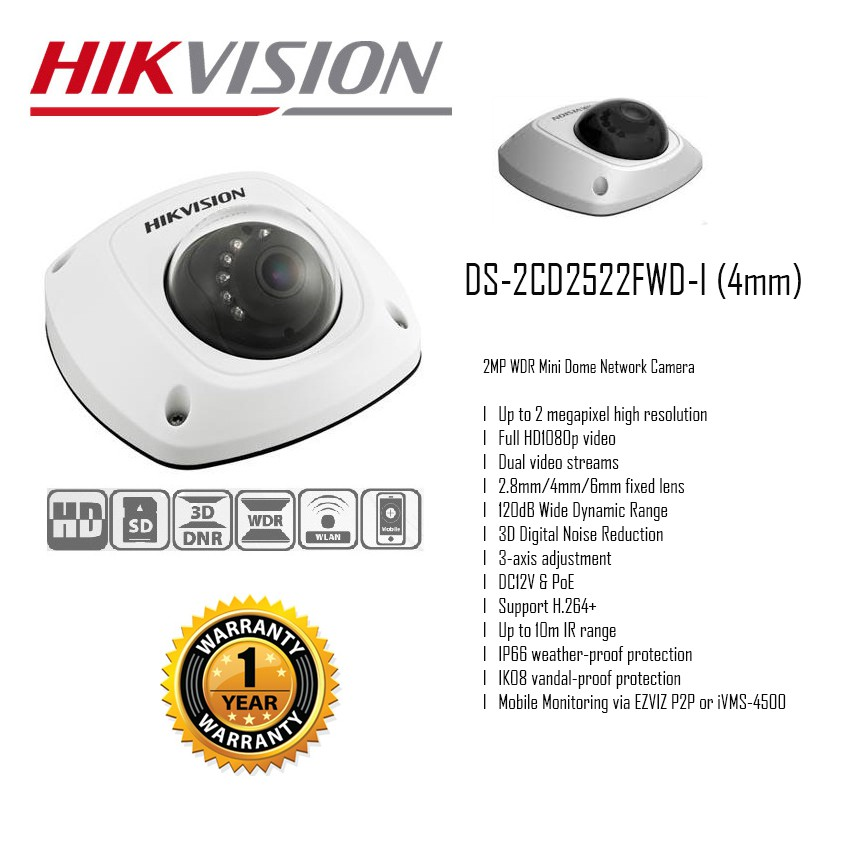 HIKVISION | DS-2CD2522FWD-I (4mm) | 2MP WDR Mini Dome Networ
