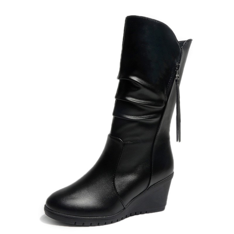 c7e4d9ca234e ProductImage. ProductImage. Boots wedge heel head boots women's shoes side  zipper ...