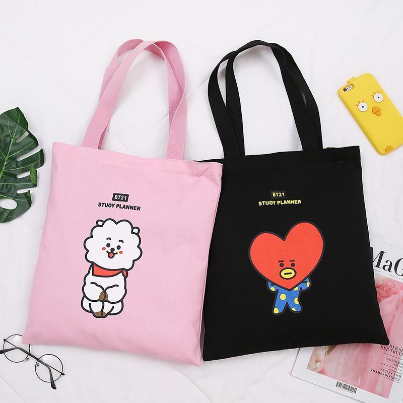 Korean BTS BT21 Cartoon Printed Canvas Tote Bag Fashion Shoulder Bag
