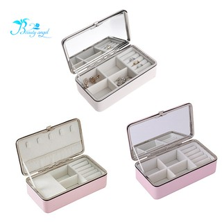 Portable Korean Jewelry Box Organizer Travels Faux Leather Ring Bracelet Earring Necklace Display St