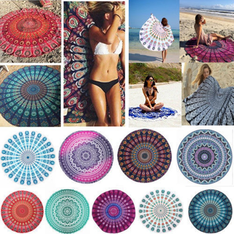 b8c41e7cfca13 ☆BIG☆Round Hippie Tapestry Beach Throw Towel Mandala Boho Cloth Mat Bikini  Cover-up   Shopee Philippines