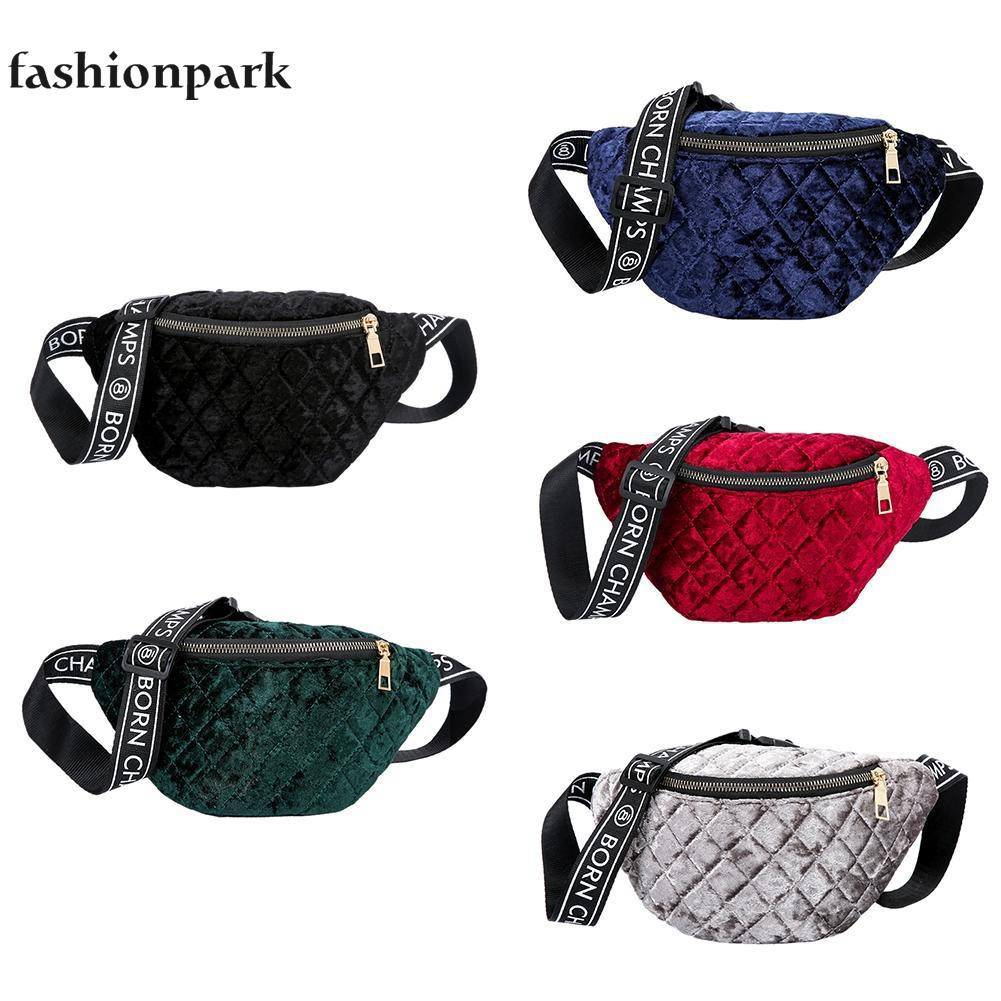 71390f0c6a9f Velvet Plaid Waist Fanny Pack Women Lady Belt Chest waistbag