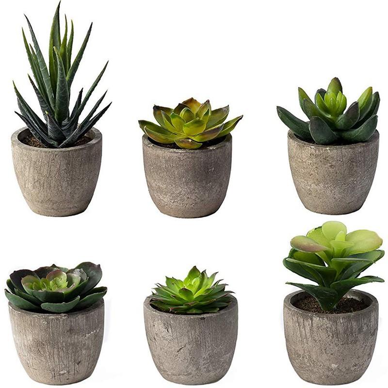 3*Artificial Succulent Plants Fake in Pots Mini Faux Grass for Home Office Decor