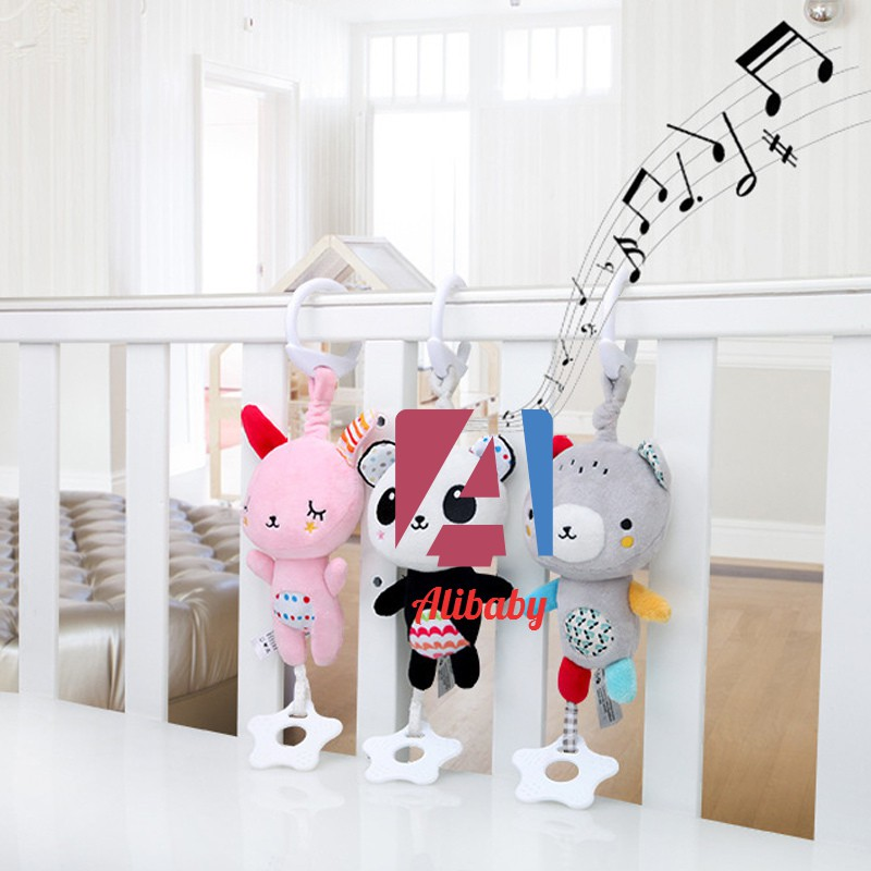 Baby Infants Rattles Plush Animal Stroller Music Hanging Bell Toy Doll Soft Bed