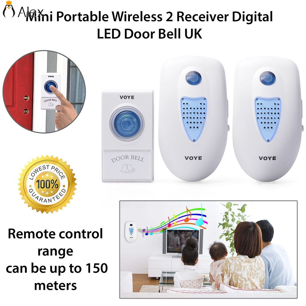 LED 3 Volume 1000FT Wireless Doorbell 38 Chime 2 Plugin Receiver+1 Transmitter