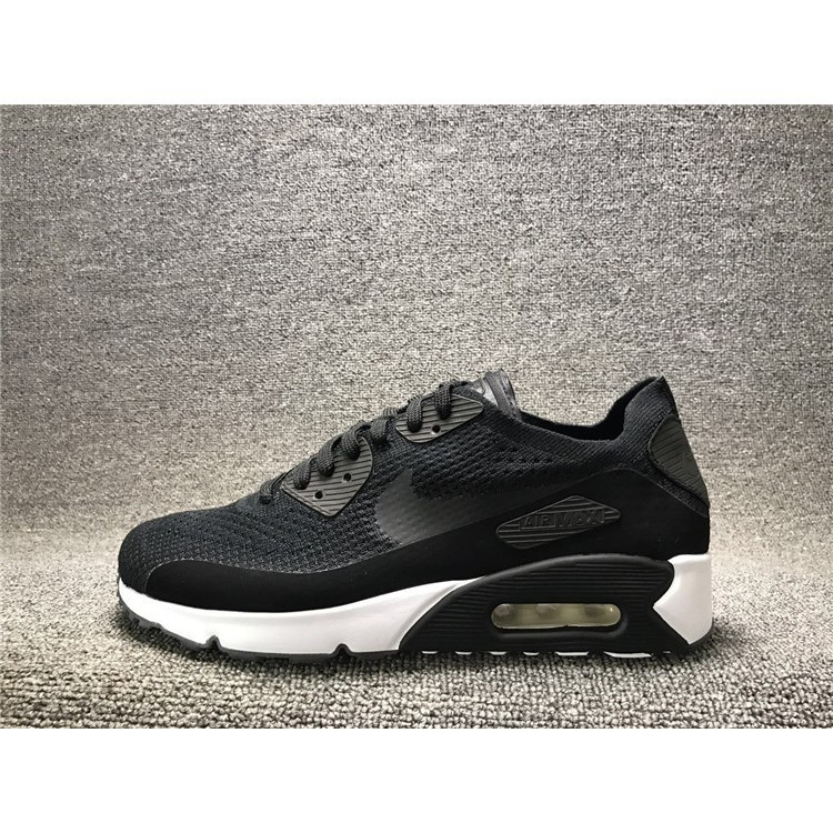 real picture NIKE air max 90 ID flyknit breathble all black oreo for men shoe