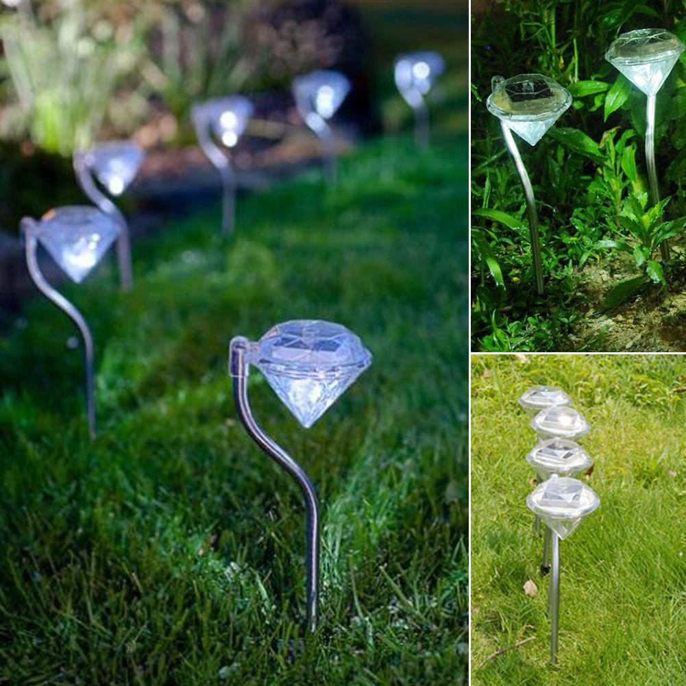 6 x Colour Changing Diamond Solar Powered Garden Lights Ourdoor Lanterns Lamp