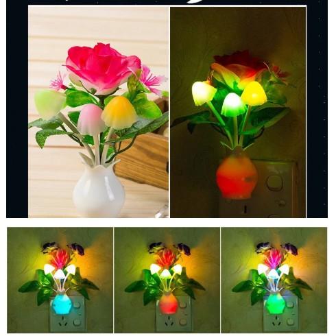 LED Night light Color Changing Mushroom & Flower Plug In Wall Light Energy  Saving Light Sensor