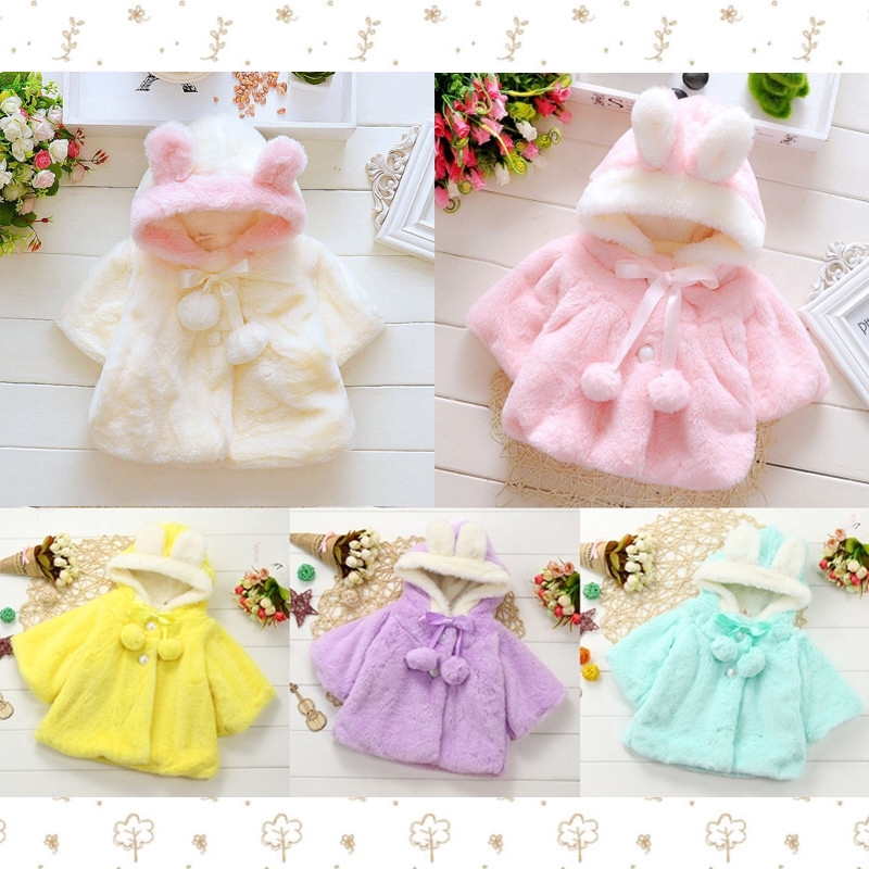 b11e24022 Baby Infant Girls Fur Coat Cloak Jacket Thick Warm Clothes🌸