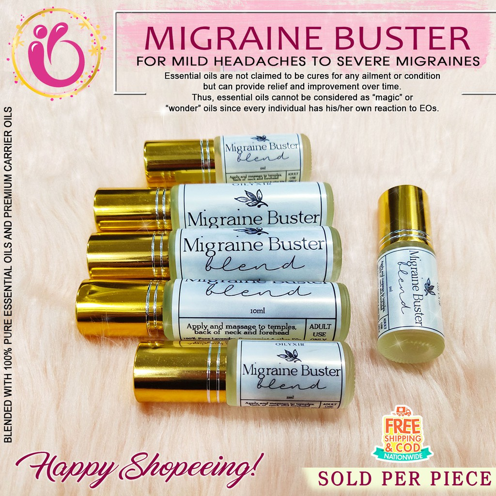 Oilyxir Migraine Buster Pure Anti Headache Migraine Essential Oil Roller Inhaler Spray For Adults Shopee Philippines