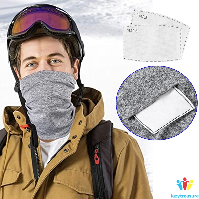 Mouth Multi-purpose NeckGaiter Face Cover Bandanas Scarf Headwear with Filters