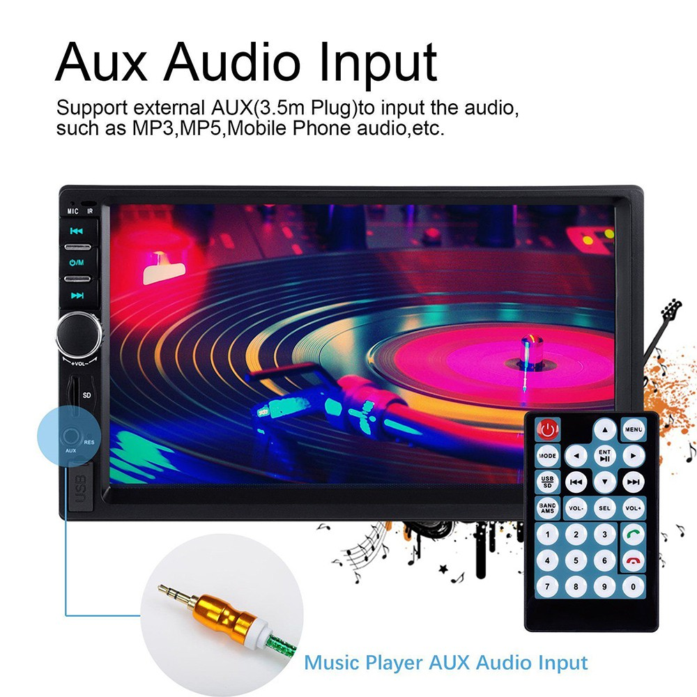 7in Bluetooth Touch Screen 2Din InDash Car Stereo MP5 Player