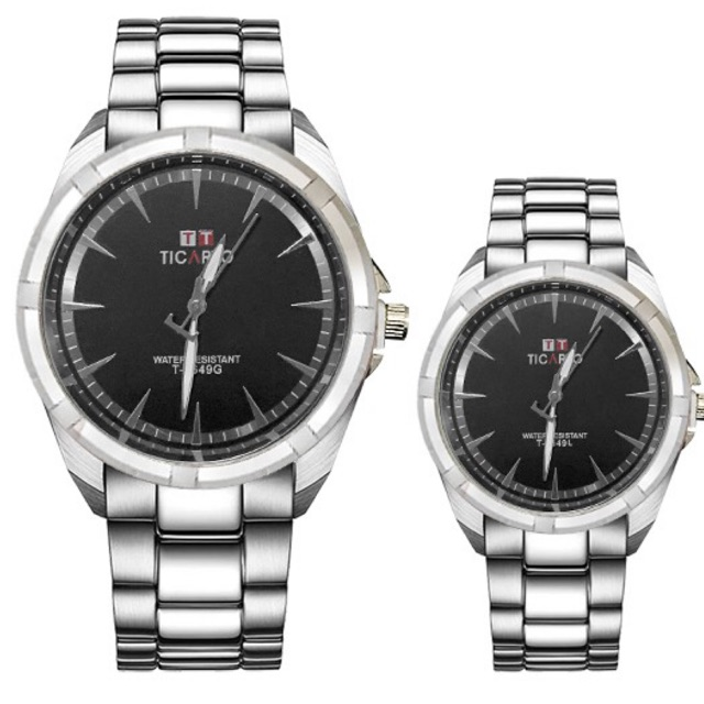 7d5db82e365f Baak  Ticarto T-2649G Stainless Couple Watch(Water Proof)