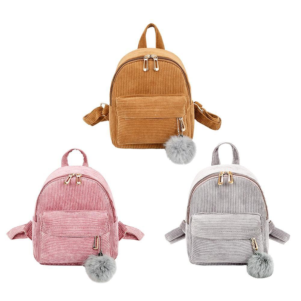 Mini Backpack For Women Corduroy Backpacks Girls Pink Rucksack Feminine School Bagpack Female