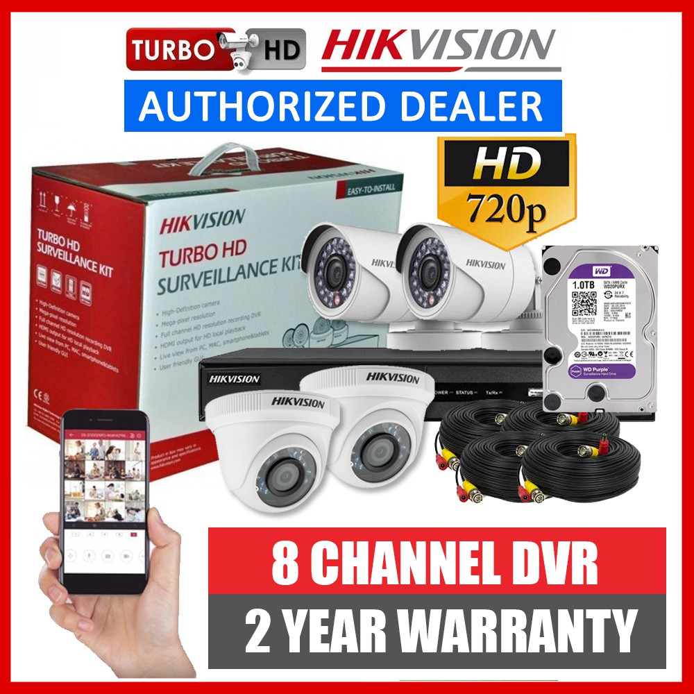 Hikvision 1MP 8CH 4CH 4 Camera CCTV Package Kit 8 Channel