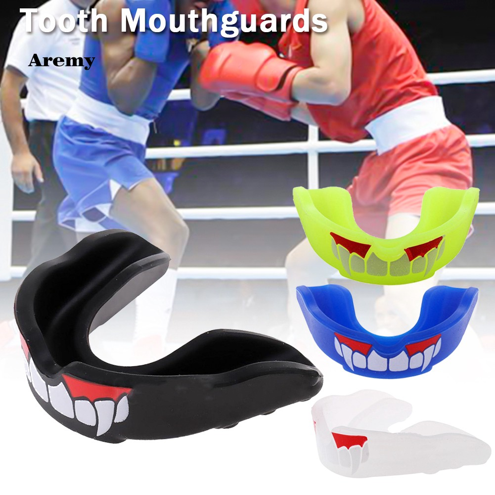 Leather Boxing Gloves,and Gum Shield Mouth Guard protect Hockey Sports Boxing