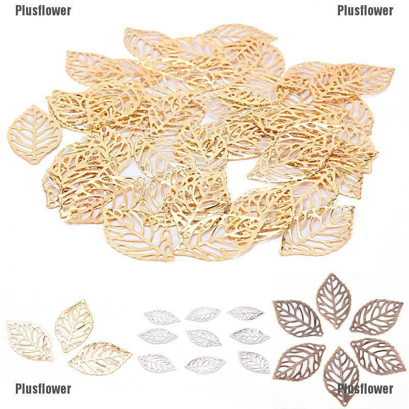 100pcs Gold//Rose Gold//Silver Filigree Tree Leaf Pendant Hollow Leaf for Necklace