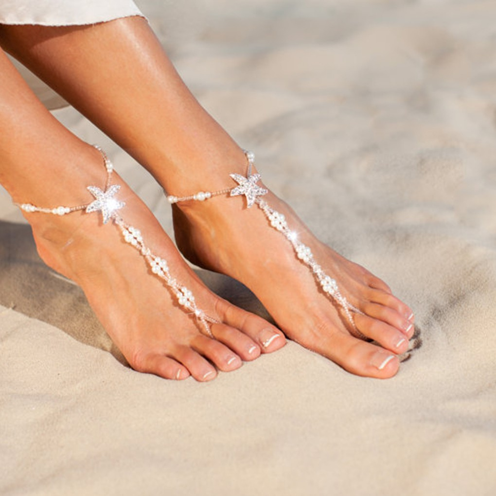 1PC Lady White Pearl Beaded Barefoot Sandal Wedding Anklet Beach Foot Jewelry