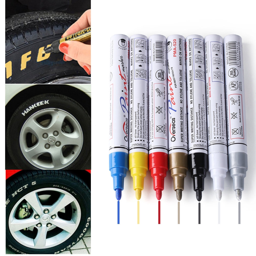 8 White Oil Paint Markers for Rubber Tyres Bins Glass Plastic Metal Waterproof