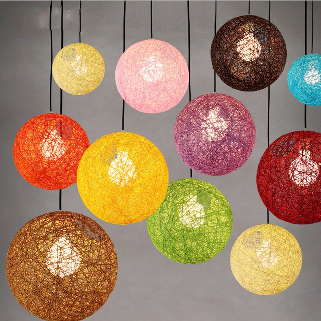 Globe Rattan Lamp Shade Rustic Woven Chandelier Weave Light Fixture Hanging Lamp Bedroom Living Shopee Philippines