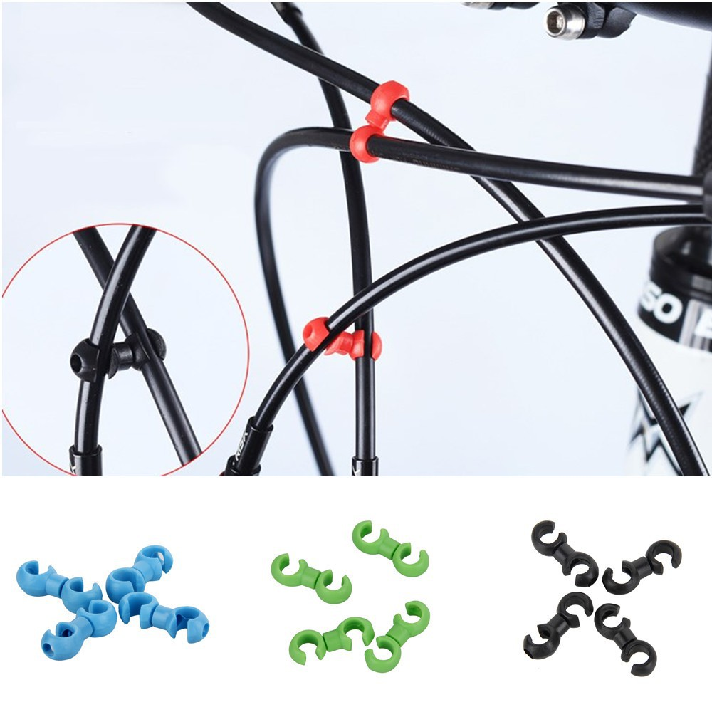 Lot 4mm//5mm Hydraulic Brake Pipe Line Rotatable Buckle Clip Bike Cable Wire S