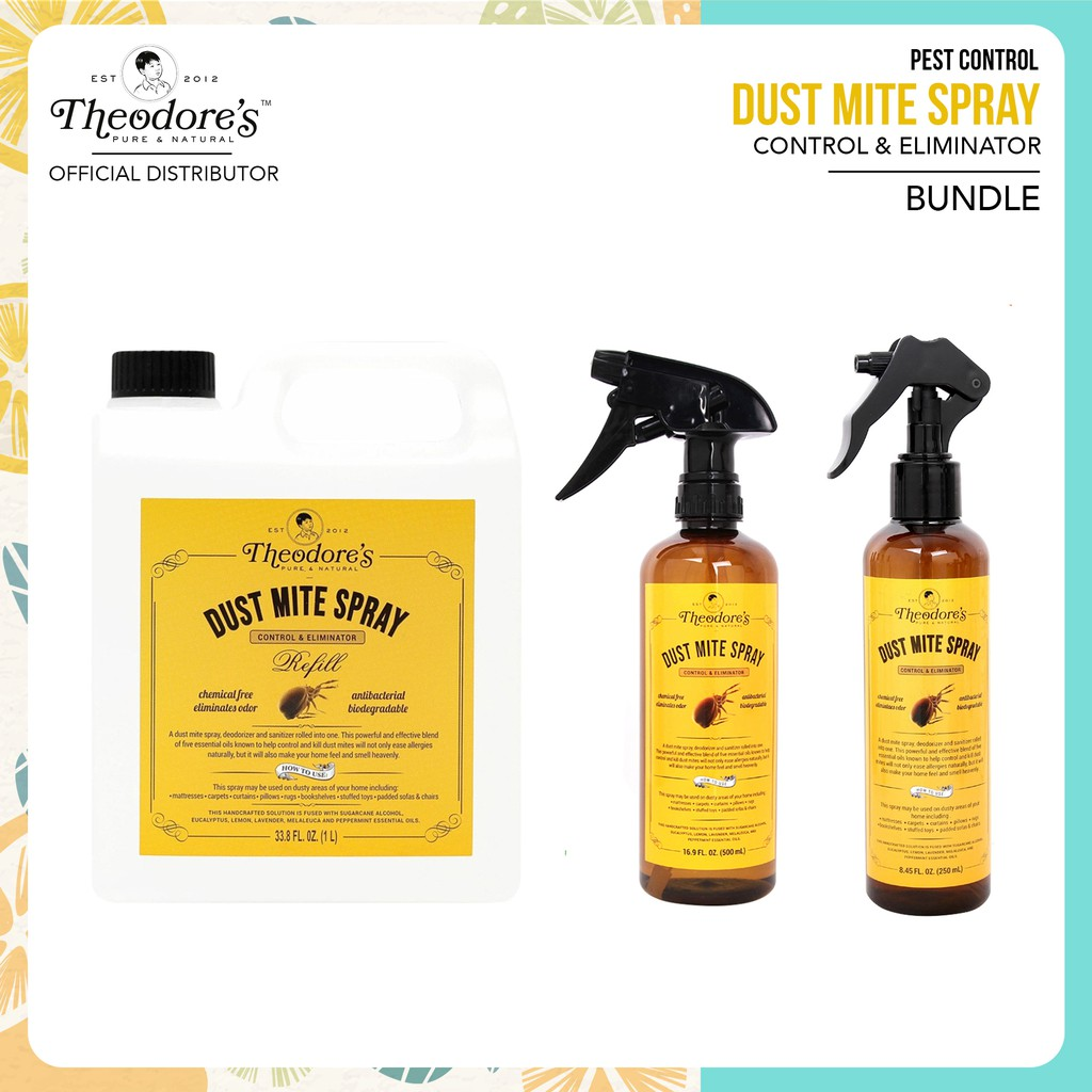Theodore S Dust Mite Spray 500ml And Refill 1l With Free Shopee Philippines