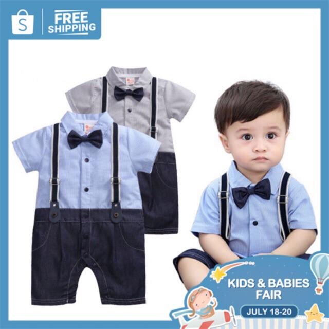 9937c8dd1114d Korean Baby Boy Gentlemen Suit Formal Romper Blue Gray Kids