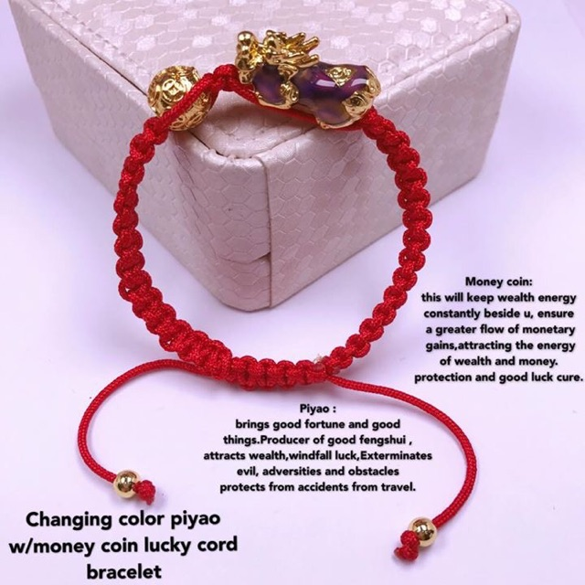 Changing color piyao w/money coin lucky cord bracelet