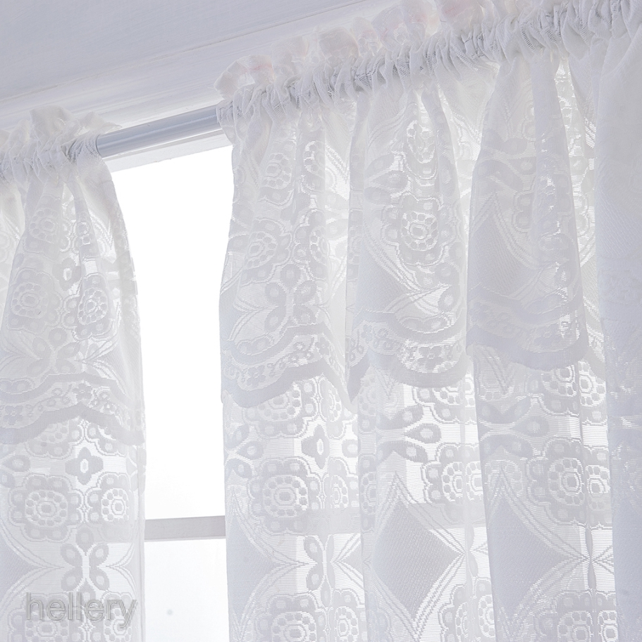 Embroidered Lace Window Voile Sheer Curtain Valance Tiers for Home Privacy