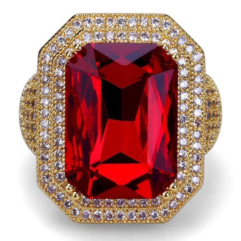 Gold Filled Stacking Ring with Red CZ ~ Size N
