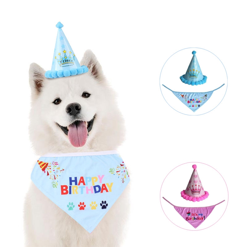 Pet Dog Cat Birthday Hat Headwear Bandana Neckerchief Ties Party Fancy Dress