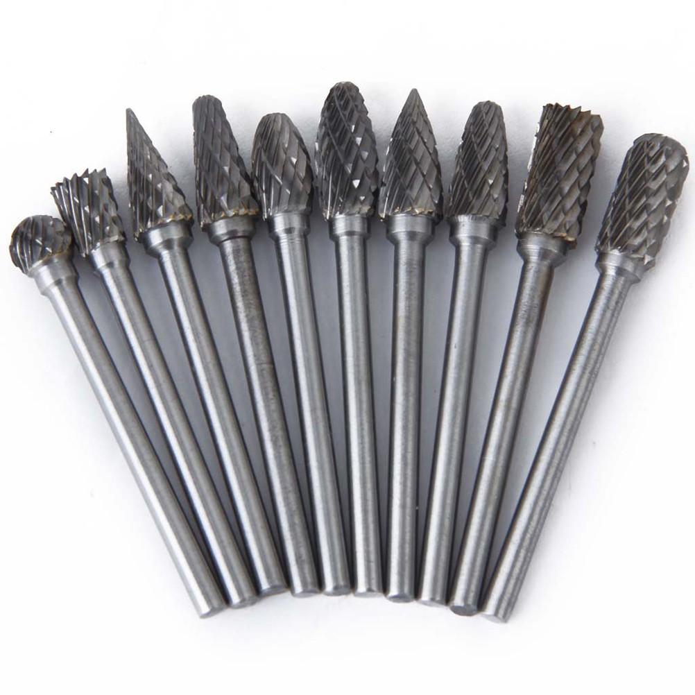 10pcs 6mm Tungsten Steel Carbide Rotary Burr Heads Burr Set Head Die Grinder Bit