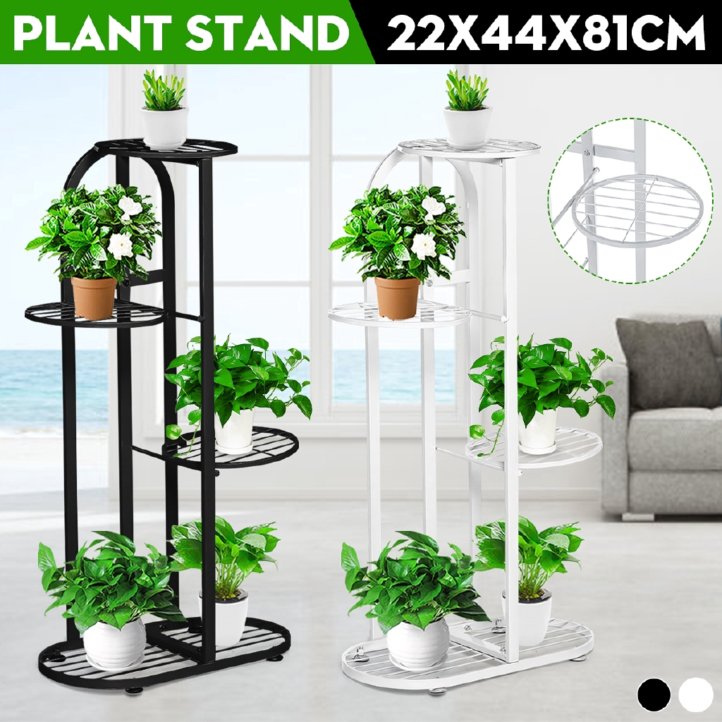 4 Tiers Iron Art Tree Design Plant Stand Holder Flower Pot Rack Garden Shelf Stand Outdoor Indoor Black White Shopee Philippines