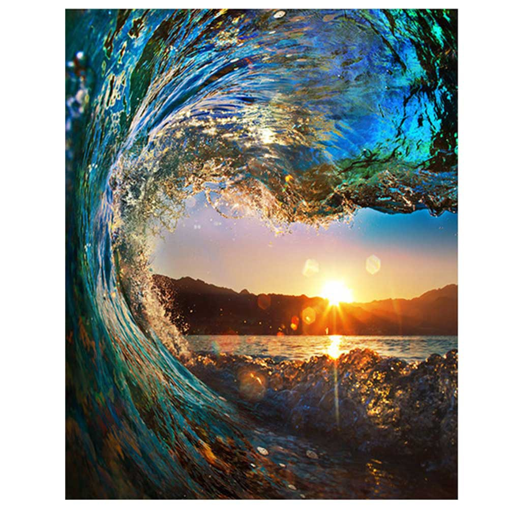 Diy Oil Paint by Number Kit Sunset Wave Seascape Drawing wit