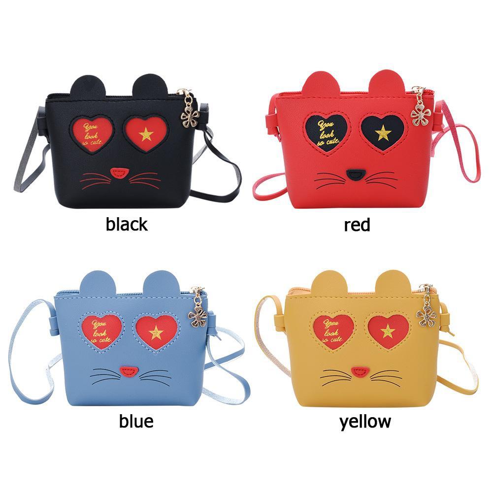 f23f3b824e66 Cute Cat Girl Messenger Bags Kids Leather Crossbody Shoulder Coin Wallet