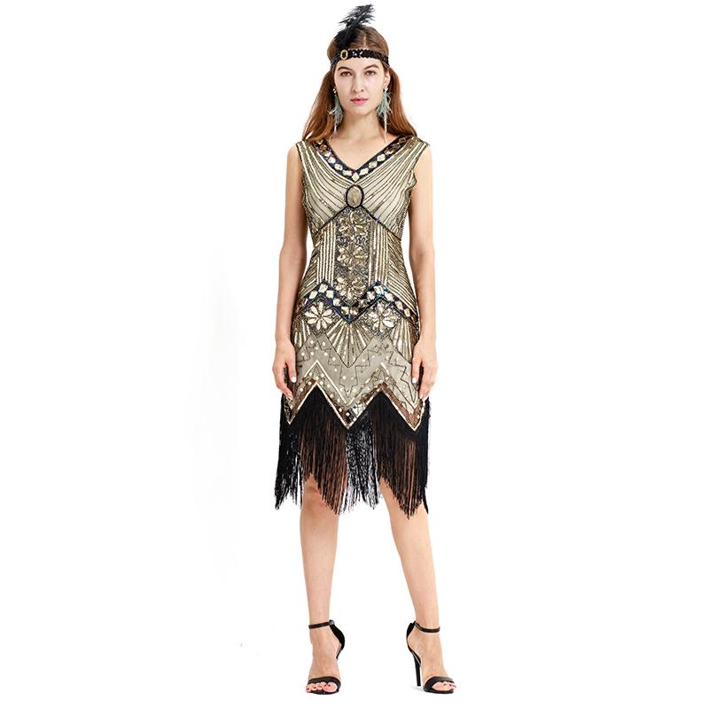 d2c9ede9dd0ff Gatsby Flapper Beaded Dress Vintage Fringe Sequin Sleeveless Women Party  Dresses