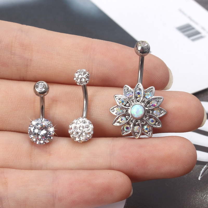 Pack of two Navel Ring with Hamsa Hand and Cubic Zirconia Design 14g