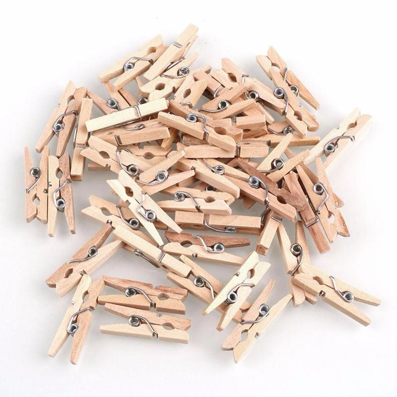 150pcs Mini Natural Wooden Clothes Photo Paper Clothespin Craft Clips 25mm Home