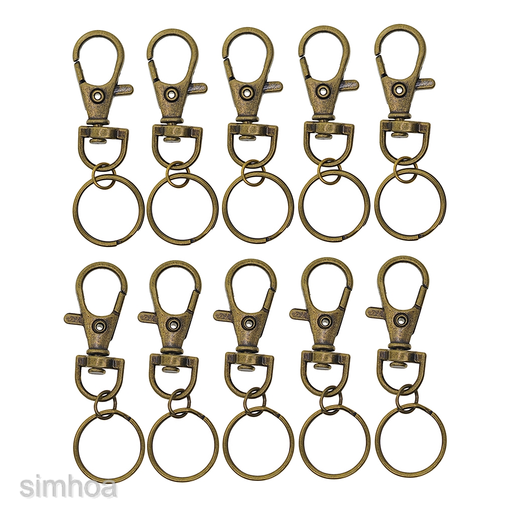 10pcs Antique Bronze ALL in ONE Lobster Clasps Claw Swivel Trigger Clips Snap Hooks Bag Key Ring Hook Charms Findings