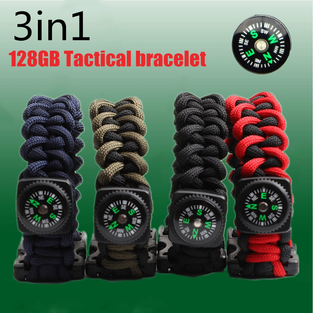 3 in 1 Compass Camping Survival Paracord Bracelet 128G USB Flash Memory Stick