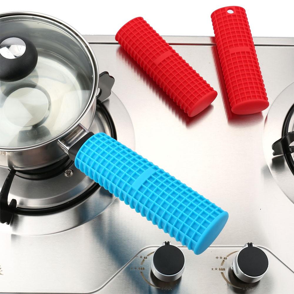 Silicone Pot Pan Handle Saucepan Holder Slip Cover Grip Kitchen Utensils HK