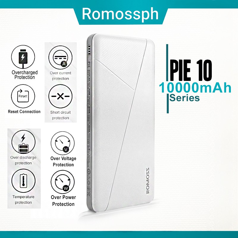 Romoss official shop PIE 10 Mosaic Slim 10000mah (White)