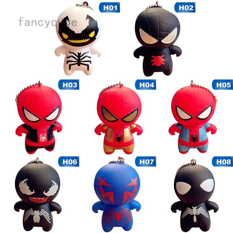 Keyring Keychain The Avengers PVC Figures Red Spiderman Black Spiderman Venom
