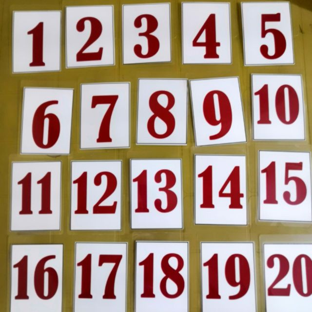 Number Flashcard Laminated 1- 20 with Ring