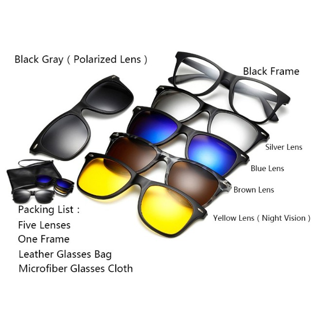 92ea75a30f 6 In 1 Magnetic Sun Glasses Clip On Polarized Len Sunglasses ...