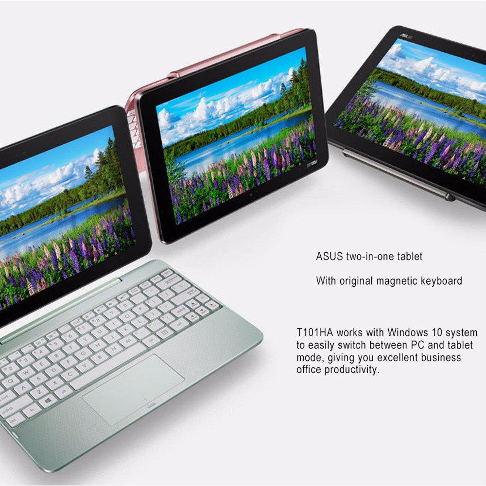 ASUS T101HA 10 1 Inches Win10 2-in-1 Tablet PC / Notebook With 2GB RAM,  32GB ROM Black